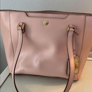 Pale pink leather handbag